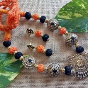 victorian beads with thread beads and antique gold pendant