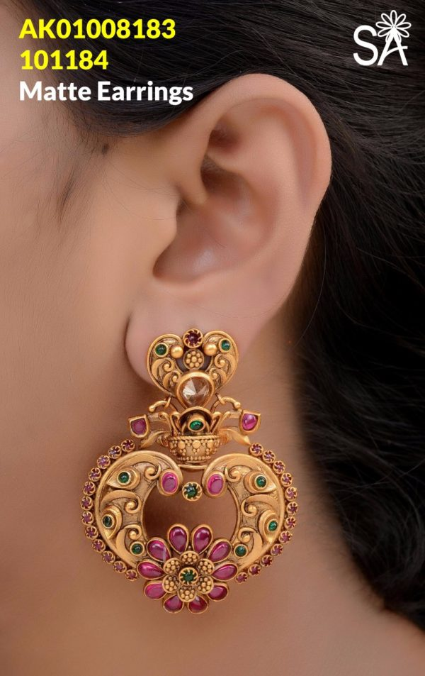 top 1gm gold matte jhumka designs in chennai