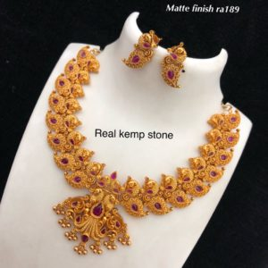 real kemp stone necklace designs in andhrapradesh