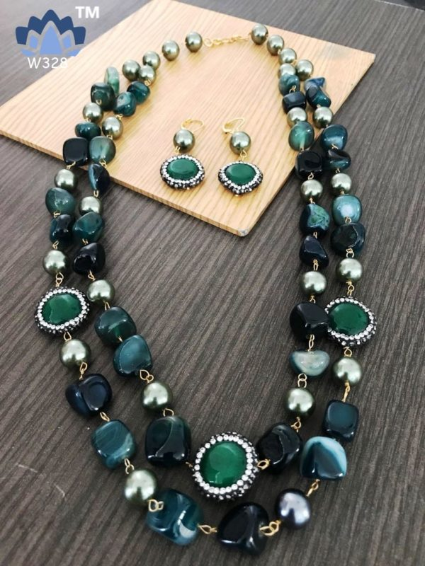 latest stone beads necklace designs