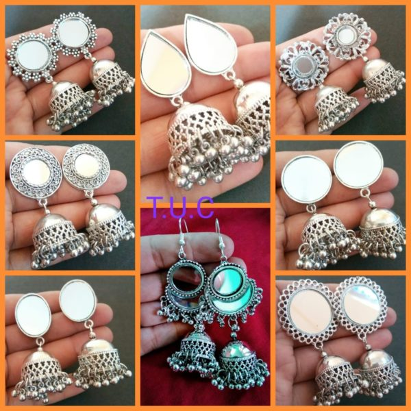 Exclusive mirror ear rings(Top with jhumki)