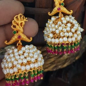 one gram gold traditional earrings