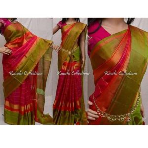 uppada pure soft silk sarees running blouse