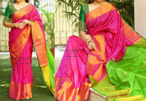 Uppada pattu sarees with nakshetra buttas with running blouse