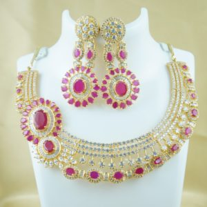 cz stone necklace designs with earrings