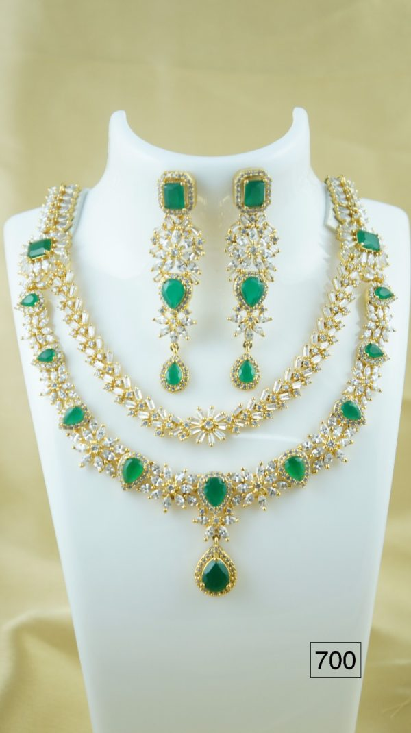 cz stone necklace designs haram with earrings