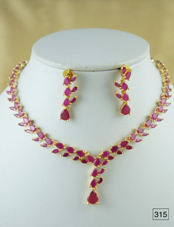 cz ruby stone necklace designs