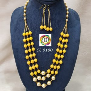 3 layer quartz beads and faux pearl necklace