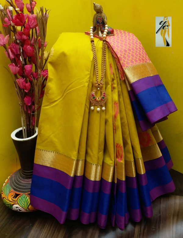 Rich silk cotton saree with kuppadam border